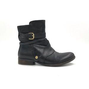 Miz Mooz Black Bailey Buckle Ankle Boots Size 8.5